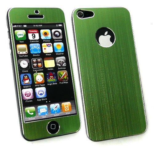 Emartbuy ® Apple Iphone 5 Protecteur D'Écran Lcd Et Brossé Alumimium Front Effect Et Autocollant / Case Retour / Couverture Verte