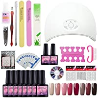 Saint-Acior 36W UV/LED Secador de Uñas Lámpara 8PC Esmaltes Semipermanentes Gel Uñas Set Primer Uñas Capa Base Manicura y Pedicura