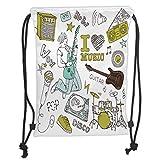 Trsdshorts Drawstring Backpacks Bags,Popstar Party,I Love Music Themed Sketch Composition Instruments Musician Girl Decorative,Khaki Light Blue Brown Soft Satin,5 Liter Capacity,Adjustable St