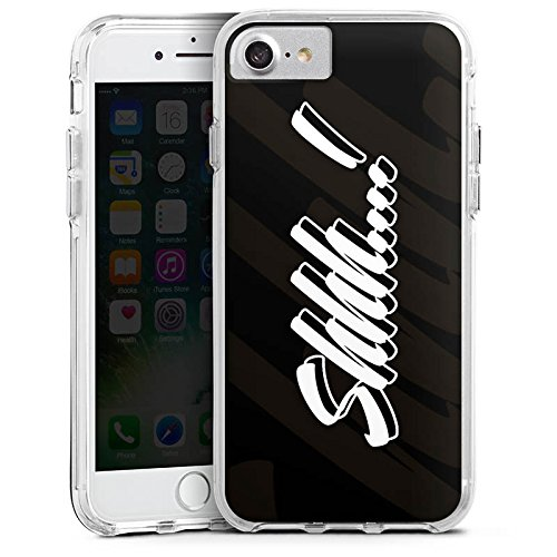 Apple iPhone 7 Plus Bumper Hülle Bumper Case Glitzer Hülle Shhh Statements Rhianna Bumper Case transparent