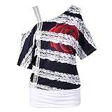 Overdose Mode Damen Sommer Casual Kurzarm Skew Neck Trägerlosen Blumendruck T-Shirt Tops Freizeit Bluse Tees Oberteile (Weiß,XL)