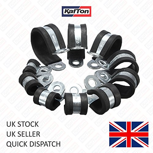 Kafton - Abrazaderas de acero con forro de goma para manguera de freno de 8 mm, 50 unidades