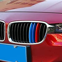 9 MOON Exact Fit ///M-Colored Grille Insert Trims fit BMW F30 3 Series 320i 328d 328i 335i and F32 4 Series 428i 435i Regular Kidney Grill(M-Colored,11 Beams), NOT for the 8-Beam Black Grille ABS Plastic