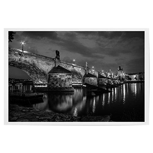 artboxONE Poster 120x80 cm Städte Karlsbrücke bei Nacht hochwertiger Design Kunstdruck - Bild Städte von Andy Michels