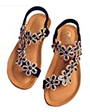 Roiii Womens Ladies Diamante Jelly Sandals Summer Beach Flip Flops Toe Post Shoes Size