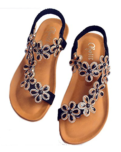351e2ccf8aa2 Roiii Womens Ladies Diamante Jelly Sandals Summer Beach Flip Flops Toe Post  Shoes Size (UK Size 7