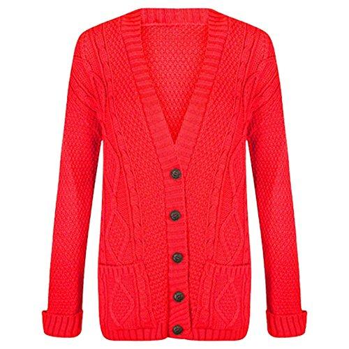 Long cardigan boutonné à manches longues et maille torsadée pour femme red