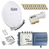 HB-Digital SET: FUBA 8 Teilnehmer Digital SAT Anlage 78cm DAA780W + hochwertiger LNB 0,1dB FULL HDTV 4K + 5/8 Multischalter + 24 Vergoldete F-Stecker Gratis dazu