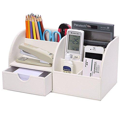 KINGFOM™ 7 Speicherabteil Multifunktionale Kunstleder Schreibtisch Organisator (Weiß)