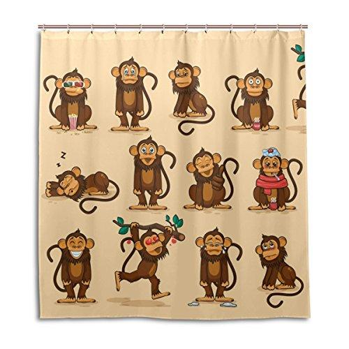 jstel Decor Vorhang für die Dusche Charakter Cartoon Affe Emoticons Muster Print 100% Polyester Stoff 167,6x 182,9cm für Home Badezimmer Deko Dusche Bad Vorhänge mit Kunststoff Haken (Kunststoff-ringe Charakter)