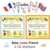 No.1 French Songs CD for Babies and Toddlers | 2 CD Pack Learn French Nursery Rhymes | Award Winning BilinguaSing Baby Loves French | Beginners French 0-4 Years Old