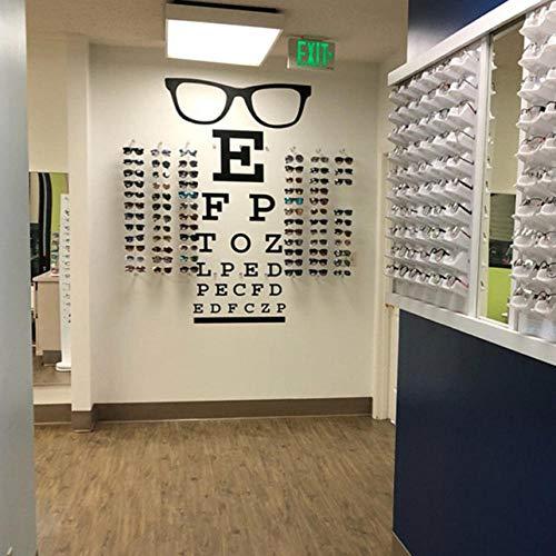 YANGSHUANG Wandaufkleber Große Gläser Sehtafel Optisches Fenster Wandaufkleber Augenarzt Optometrie Hipster Brillen Spezifikationen Rahmen Glas Wandtattoo Vinyl 85x46cm