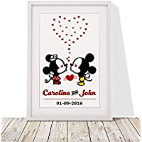 Valentine's Day Gift For Husband Wife | Personalised Mickey And Minnie Mouse Better Together Forever Framed Wall Art Print | Present For Wedding Anniversary | White, 12x10 Inch