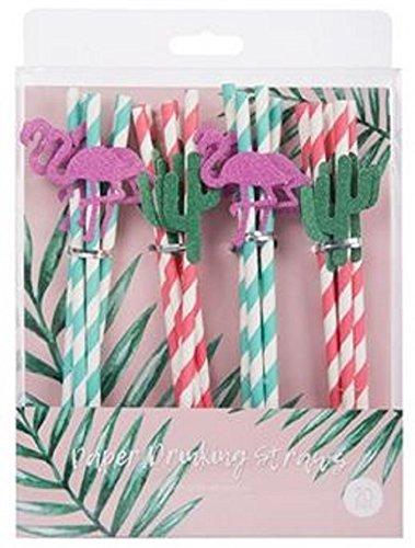 Pajitas de papel tropicales para bodas, cumpleaños, baby showers, aniversarios, años nuevos, perfecto para todas las ocasiones, hecho de papel de calidad alimentaria, coloridas rayas con purpurina, forma de flamencos y la práctica – Pack de 20