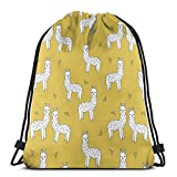 YuYfashions Zaino con Coulisse Alpaca Mustard By Andrea Lauren Drawstring Backpack Bag Lightweight Gym Travel Yoga Casual Snackpack Shoulder Bag for Hiking Swimming Beach