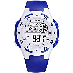 Digital-analog Boys Girls Luminous Sport Digital Watch with Alarm Stopwatch Chronograph - 50m Water Proof(Blue)