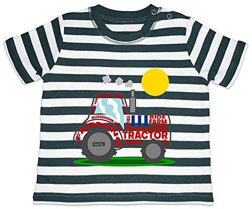 HARIZ Baby T-Shirt Streifen Traktor Sonne Auto Polizei Plus Geschenkkarte Navy Blau/Washed Weiß 18-24 Monate -