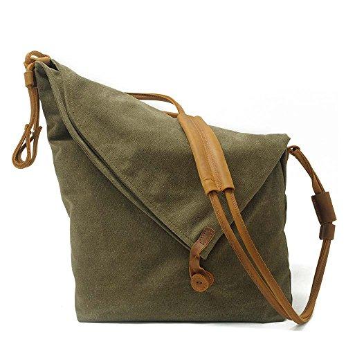 Umhängetasche Handtasche Schultertasche Canvas Shopper Tasche Verstellbare Schultergurte Vintage (Grün) (Store-party-stadt)