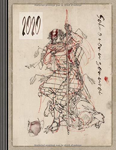 2020: Agenda Semainier et Calendrier Janvier à Decembre avec To Do List + 45 Pages Dot Grid Pointillé - Journalier Organisateur A4 - Pratique Planificateur Journal Carnet - Art Japonaise Samurai