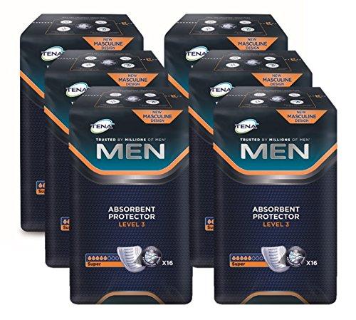TENA Men Level 3 - Inkontinenz-Dreiecksvorlage für Männer mit Klebestreifen - 1 Karton = 6 x 16 = 96 Stüc - Inkontinenz-unterwäsche Für Männer