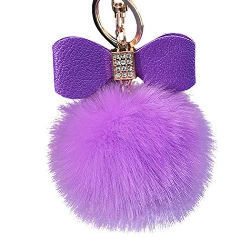 euwanyu Diamond Rabbit Fur Ball Fox Bowknot Keychain Bag Plush Car Key Ring Pendant 10cm (Purple) -