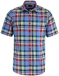 CASAMODA Comfort Fit Hemd Halbarm mit Besatz Karo blau