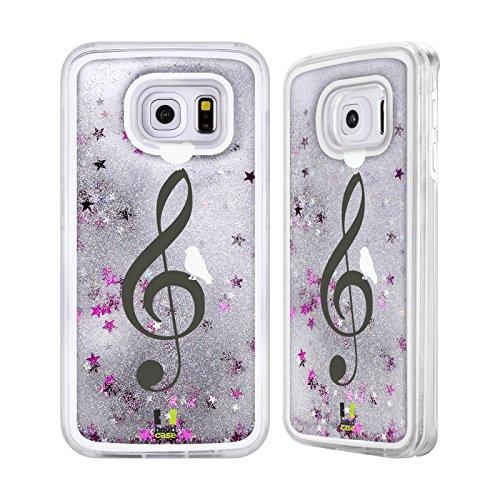 Head Case Designs Nel Cielo Uccellini In Musica Custodia Cover con Glitter Liquidi Argento per Apple iPhone 5c Nel Cielo