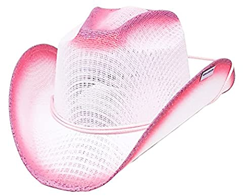 Modestone Girl's Straw Chapeaux Cowboy Chinstring White, Fuchsia Purple Accents