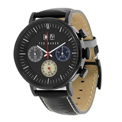 Ted Baker Mens bracelet en cuir noir cadran noir chrono TE10023471