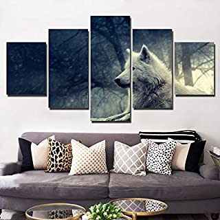 Wowdecor Wall Art 5 Pieces Canvas Painting Prints Multiple Pictures - Forest Wolf Giclee Pictures Painting Printed on Canvas, Posters Wall Decor Gift - UNFRAMED (Small)
