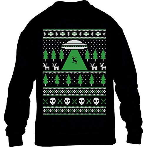 Hässlicher Weihnachtspulli Motiv UFO Ausserirdisch Kinder Pullover Sweatshirt L 134/146 Schwarz