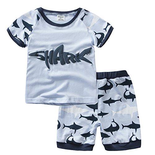 Baby Jungen Pyjama Sets Kurzarm Shark Baby Pjs Kinder 2 Stück Nachtwäsche Größe 4 Jahre 100% Baumwolle (2 Stück Jungen Pjs)