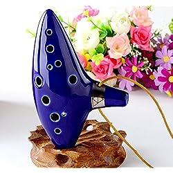 Gearmax® 12 Hole Ocarina Cerámica Alto C Legend of Zelda Ocarina Flauta con libro de canciones (Cordón Correa de cuello con color al azar) - Azul
