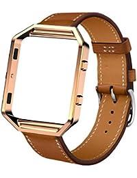 Ularma Correa de reloj banda + Metal Frame de Fitbit Blaze elegante reloj (marrón)