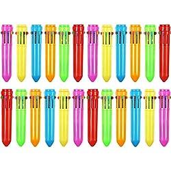 24 Piezas 10-en-1 Bolígrafos de Bola Retráctiles Bolígrafos de Multicolor Mini Plumas de Lanzadera Coloridas para Materiales de Oficina Escuela Regalos de Estudiantes Niños