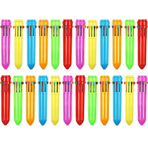 24 Pezzi 10-in-1 Retrattile Penne a Sfera Multicolore Penne Colorate Retrattile Mini Shuttle Penne per Ufficio Scuola Forniture Studenti Bambini Regalo