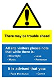 There May Be Trouble Ahead sign - 1mm rigid plastic - Size 200mm x 300mm