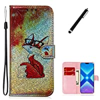 Beddouuk Huawei Y5 2019/honor 8s Glitter Case,Premium Bling 3D Fox-1 PU Leather Kickstand Card Slots Wallet Case,Folio Bookstyle Case Inner Bumper Protective Cover for Huawei Y5 2019