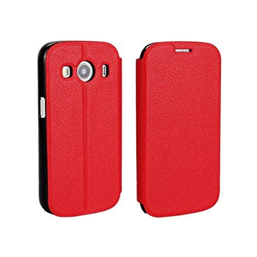 Samsung Galaxy Ace Style LTE G357 Hülle, CaseFirst Leder Handyhülle PU Geldbörse Anti-kratzer Lederhülle Schutzhülle Schutz Stoßfest Bookstyle Wallet Case mit Karten fächer (Rot)
