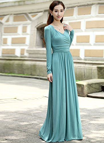 Medeshe - Robe - Taille empire - Manches Longues - Femme - Mint Blue