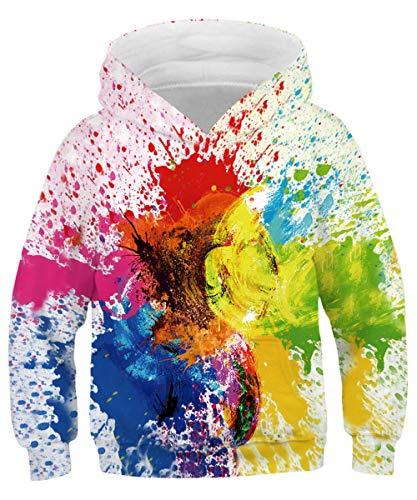 ALISISTER Teen Jungen Mädchen Hoodie Pullover 3D Personalisiert Graffiti Digital Kapuzenpullover Sweatshirt Herbst Winter Kinder Outwear Kapuzenpullis Tops XL