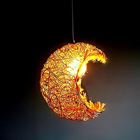 XXHX Lumières Lustre pendentif lune en rotin Manor Restaurant Café Salon de thé léger Étude Chambre Salon Lights Off Hyun