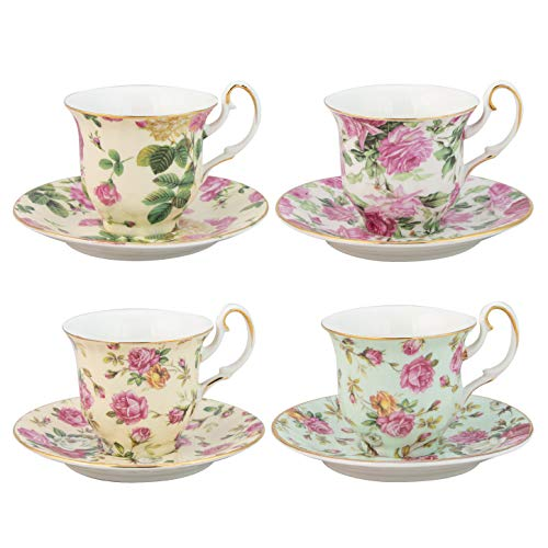 Gracie China Rose Chintz 3-Ounce Porcelain Espresso Cup and Saucer with Gold Trim, Set of 4 by Gracie China by Coastline Imports - Set Gold Trim
