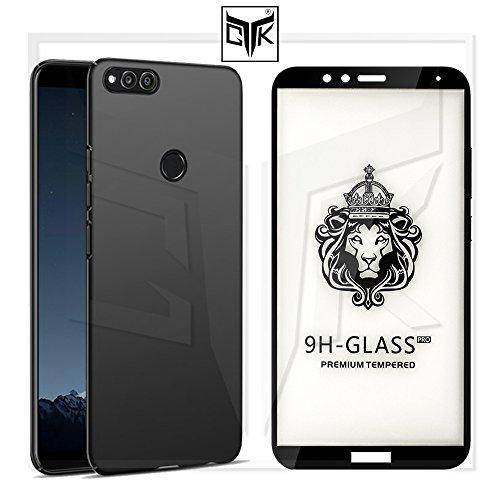 TheGiftKart Honor 7X Tempered Glass + Back Cover - Full Glue Edge-To-Edge Tempered Glass (Black) + Matte Velvet Feel Hard Cover (Jet Black)
