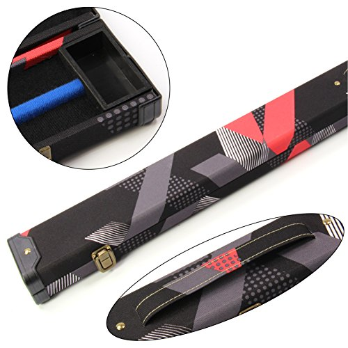 Aktuelle 80er Koffer, rot & schwarz, 3/4-Poolbillard- / Snooker-Queue-Koffer–116cm max