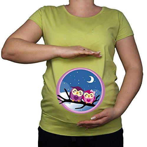 Green Für Lime Shirt Frauen Dress (Für die Schwangerschaft, Größe 36-46, Eulen owl Top Tunika-Shirt mit Aufdruck