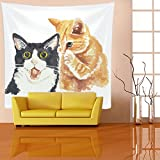 Decorative Tapestry Cute Cat Cloth Art Printed Design/Mandala Hippie Bohemia Wall Hanging, Room Bedroom Dormitory Curtain Home Decoration, Meditation Yoga Beach Mat Rug,, B,150 * 150Cm