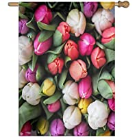 Kotdeqay Spring Flowers Floral Polyester Garden Flag Outdoor Banner 28 x 40 Inch, Nature Seasonal Greeting Decorative Large House Flags M7