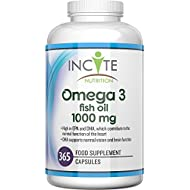 Omega 3 Supplement 1000 Milligram Max Strength 365 Soft Gels (1 Years Supply) UK Made Boosts Immune System, Helps Joint Care and Healthy Hair Fish Oil Cod Liver Oil DHA EPA Omega 3 6 9 Omega 3