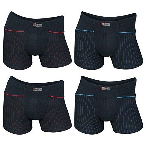 4er Pack Herren Retroshorts Boxershorts Pesail in dunklen Farben mit Streifen 2x dunkelblau 2x schwarz